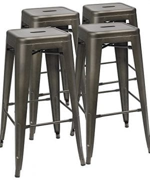 Furmax 30 Inches Gun Metal Bar Stools High Backless Stools Indoor Outdoor Stackable StoolsSet Of 4 0 300x360