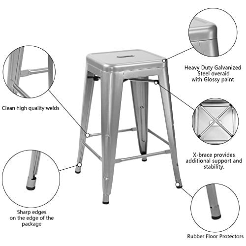Magnificent Furmax Metal Stools High Backless Metal Indoor Outdoor Counter Height Stackable Bar Stools Machost Co Dining Chair Design Ideas Machostcouk