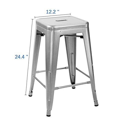 Marvelous Furmax Metal Stools High Backless Metal Indoor Outdoor Counter Height Stackable Bar Stools Pabps2019 Chair Design Images Pabps2019Com