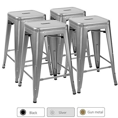 Furmax Metal Stools High Backless Metal Indoor Outdoor Counter Height Stackable Bar Stools 0