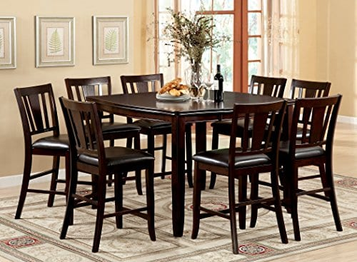 Furniture Of America Frederick 9 Piece Square Counter Height Table Set With 16 Inch Expandable Leaf Espresso Finish 0 0