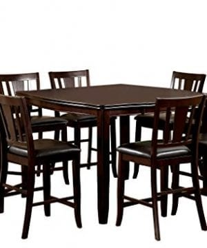 Furniture Of America Frederick 9 Piece Square Counter Height Table Set With 16 Inch Expandable Leaf Espresso Finish 0 300x360