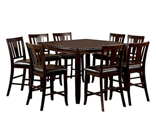 Furniture Of America Frederick 9 Piece Square Counter Height Table Set With 16 Inch Expandable Leaf Espresso Finish 0