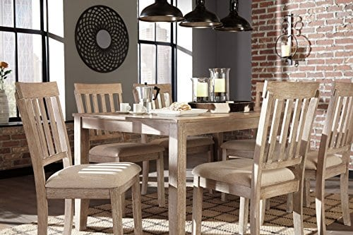 FurnitureMaxx 7 PC Mallitoni Casual White Wash Gray Color Dining Room Table Set Table And 6 Chairs 0 0