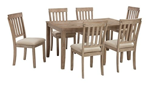 FurnitureMaxx 7 PC Mallitoni Casual White Wash Gray Color Dining Room Table Set Table And 6 Chairs 0 1