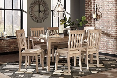 FurnitureMaxx 7 PC Mallitoni Casual White Wash Gray Color Dining Room Table Set Table And 6 Chairs 0 2