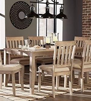 FurnitureMaxx 7 PC Mallitoni Casual White Wash Gray Color Dining Room Table Set Table And 6 Chairs 0 300x333