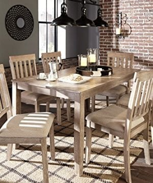 FurnitureMaxx 7 PC Mallitoni Casual White Wash Gray Color Dining Room Table Set Table And 6 Chairs 0 4 300x360
