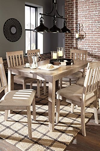 FurnitureMaxx 7 PC Mallitoni Casual White Wash Gray Color Dining Room Table Set Table And 6 Chairs 0 4