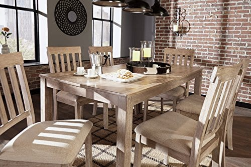 FurnitureMaxx 7 PC Mallitoni Casual White Wash Gray Color Dining Room Table Set Table And 6 Chairs 0 5