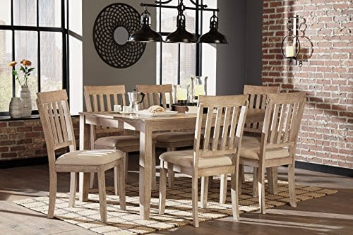 FurnitureMaxx 7 PC Mallitoni Casual White Wash Gray Color Dining Room Table Set Table And 6 Chairs 0