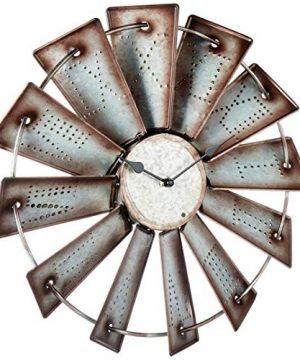 Giannas Home Rustic Farmhouse Metal Windmill Wall Clock 145 0 300x360