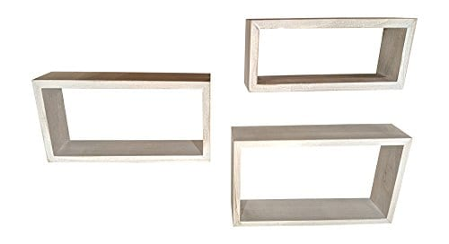 Giannas Home Set Of 3 Rustic Farmhouse Distressed Country Floating Shelves Rectangle 0 0