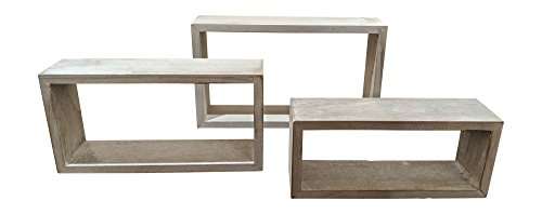 Giannas Home Set Of 3 Rustic Farmhouse Distressed Country Floating Shelves Rectangle 0 1