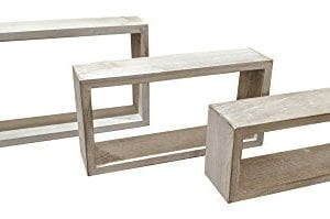 Giannas Home Set Of 3 Rustic Farmhouse Distressed Country Floating Shelves Rectangle 0 300x199