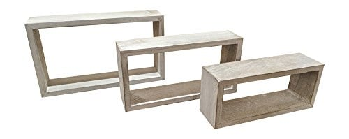 Giannas Home Set Of 3 Rustic Farmhouse Distressed Country Floating Shelves Rectangle 0