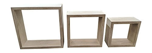 Giannas Home Set Of 3 Rustic Farmhouse Distressed Country Floating Shelves Square 0 0