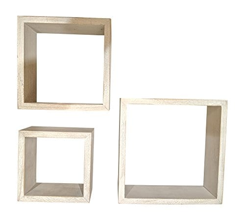 Giannas Home Set Of 3 Rustic Farmhouse Distressed Country Floating Shelves Square 0 1
