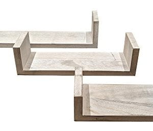 Giannas Home Set Of 3 Rustic Farmhouse Distressed Country Floating Shelves U Shaped 0 300x258