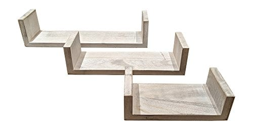 Giannas Home Set Of 3 Rustic Farmhouse Distressed Country Floating Shelves U Shaped 0