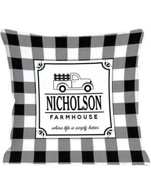 GiftsForYouNow Farmhouse Personalized Throw Pillow Black Back Black 0 300x360
