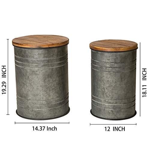 Pleasing Glitzhome Rustic Storage Bins Metal Stool Ottoman Seat With Round Wood Lid Set Of 2 Ibusinesslaw Wood Chair Design Ideas Ibusinesslaworg