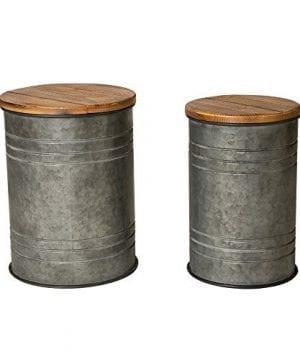 Glitzhome Rustic Storage Bins Metal Stool Ottoman Seat With Round Wood Lid Set Of 2 0 300x360
