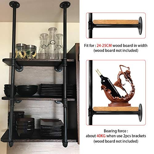 GoYonder Industrial Wall Mounted Iron Pipe Shelf Retro Bookcases Rustic Hung Bracket DIY Storage Shelving Bookshelf Utility Shelves 0 3