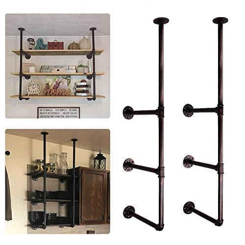 GoYonder Industrial Wall Mounted Iron Pipe Shelf Retro Bookcases Rustic Hung Bracket DIY Storage Shelving Bookshelf Utility Shelves 0