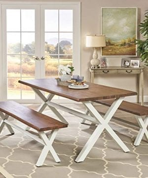Great Deal Furniture Athena Indoor Farmhouse Cottage Faux Live Edge 3 Piece Acacia Wood Picnic Set Dark Oak 0 0 300x360