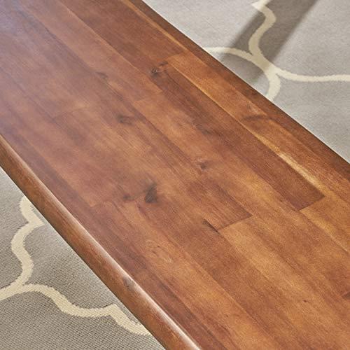 Great Deal Furniture Athena Indoor Farmhouse Cottage Faux Live Edge 3 Piece Acacia Wood Picnic Set Dark Oak 0 1