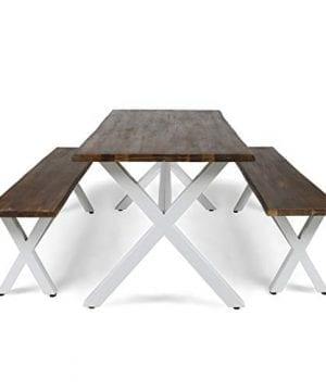 Great Deal Furniture Athena Indoor Farmhouse Cottage Faux Live Edge 3 Piece Acacia Wood Picnic Set Dark Oak 0 3 300x360