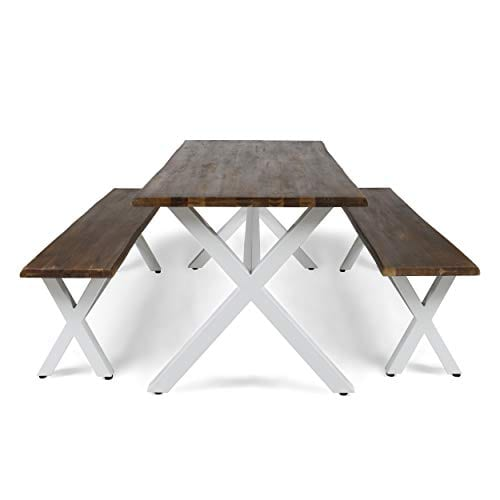 Great Deal Furniture Athena Indoor Farmhouse Cottage Faux Live Edge 3 Piece Acacia Wood Picnic Set Dark Oak 0 3