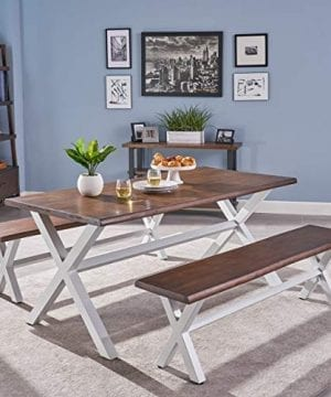 Great Deal Furniture Athena Indoor Farmhouse Cottage Faux Live Edge 3 Piece Acacia Wood Picnic Set Dark Oak 0 300x360