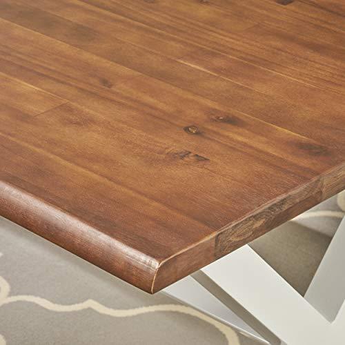 Great Deal Furniture Athena Indoor Farmhouse Cottage Faux Live Edge 3 Piece Acacia Wood Picnic Set Dark Oak 0 5