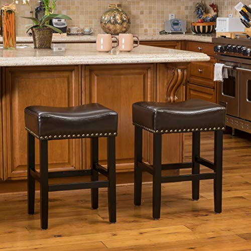 Excellent Christopher Knight Home Chantal Backless Counter Stools With Brass Nailhead Studs Set Of 2 Brown Cjindustries Chair Design For Home Cjindustriesco
