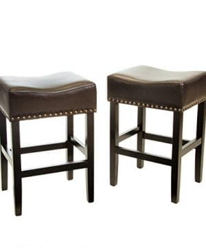Great Deal Furniture Chantal Backless Brown Counter Stools With Brass Nailhead Studs Set Of 2 0 300x360