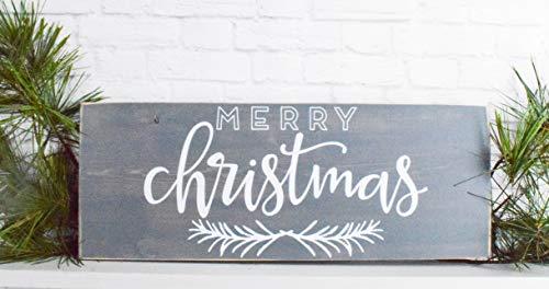 Grey Merry Christmas Wood Sign Farmhouse Holiday Wooden Wall Decor 0 0