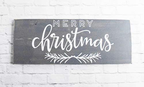 Grey Merry Christmas Wood Sign Farmhouse Holiday Wooden Wall Decor 0