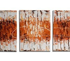 HLJ 3 Pieces Modern Abstract Handmade Oil Paintings Framed On Canvas Ready To Hang On Bathroom Living Room Wall Decoration Golden Line A Small 0 300x262