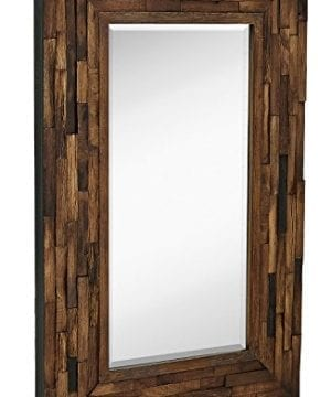 Hamilton Hills Rustic Natural Wood Framed Wall Mirror Solid Construction Glass Wall Mirror Vanity Bedroom Or Bathroom Hangs Horizontal Or Vertical 100 24 X 36 0 300x360