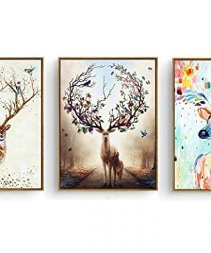 Hepix 3 Panel Canvas Wall Art Decor Adorable Deers Prints Wood Framed Strached Wall Artwork For Home Decoration Modern Home Decor Ready To Hang 13 By 17 Inch 3PCS 0 300x360