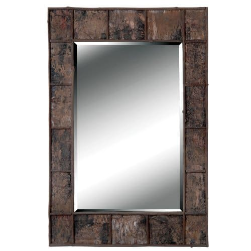 Kenroy Home Rustic Rectangular Wall Mirror Natural Birch Bark Finish 38 28 Inches Easy Hang D Rings Included 38 Inches By 28 Inches Brown 0