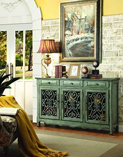 3 Door Accent Cabinet Antique Green 0