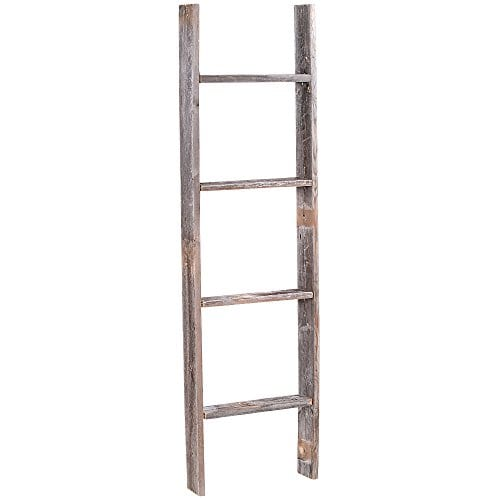 4 Reclaimed Barnwood Rustic Ladder 0 0