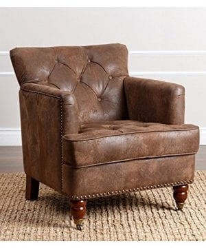 Abbyson Living Misha Tufted Fabric Accent Chair In Antique Brown 0 300x360