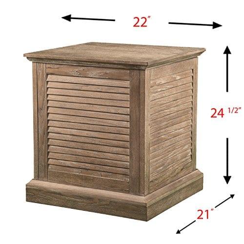 Abram Louvered Storage Trunk End Table Burnt Oak 22 W X 21 D X 245 H 0 4