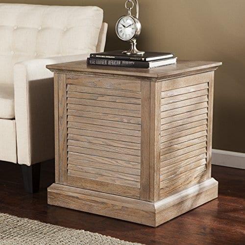 Abram Louvered Storage Trunk End Table Burnt Oak 22 W X 21 D X 245 H 0