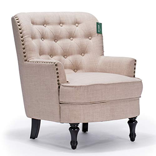 Accent Chair Morden Fort Armchair For Living RoomBedroomHome Decoration Beige Linen 0 0
