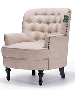 Accent Chair Morden Fort Armchair For Living RoomBedroomHome Decoration Beige Linen 0 1 300x360